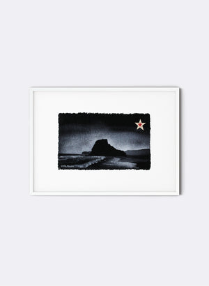 Piha, Lion Rock - Postcard Artwork - Black