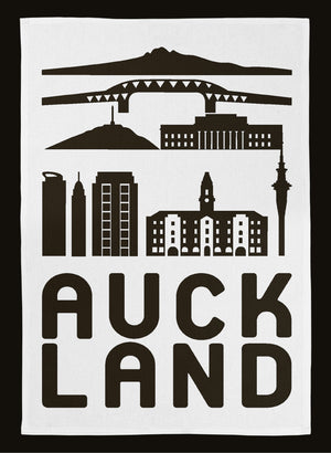 Auckland City Tea Towel - Black