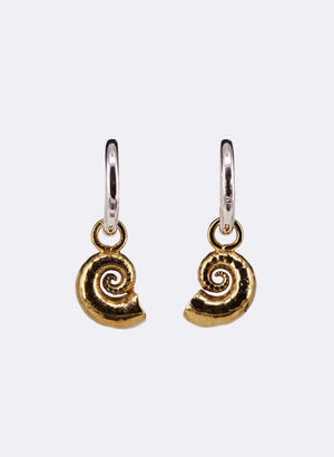 Spiral Shell Earrings - Sterling Silver & Gold Plating