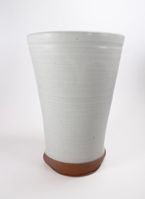 Flared Off White Glazed Vase