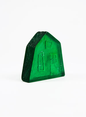 Small Cast Glass House - Emerald