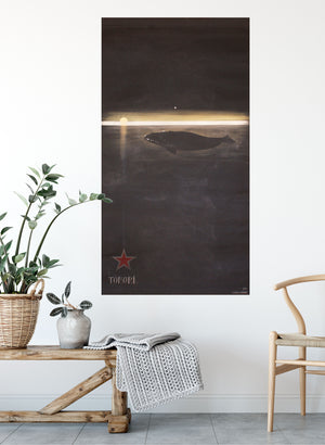 Tohora (Southern Right Whale), Vertical Flag - Black & Deep Brown