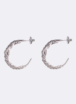Silver Fern Hoop Earrings