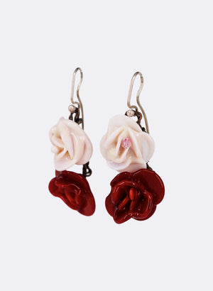 Double Flower Drop Earrings - (Pink Rose & Red Rose)