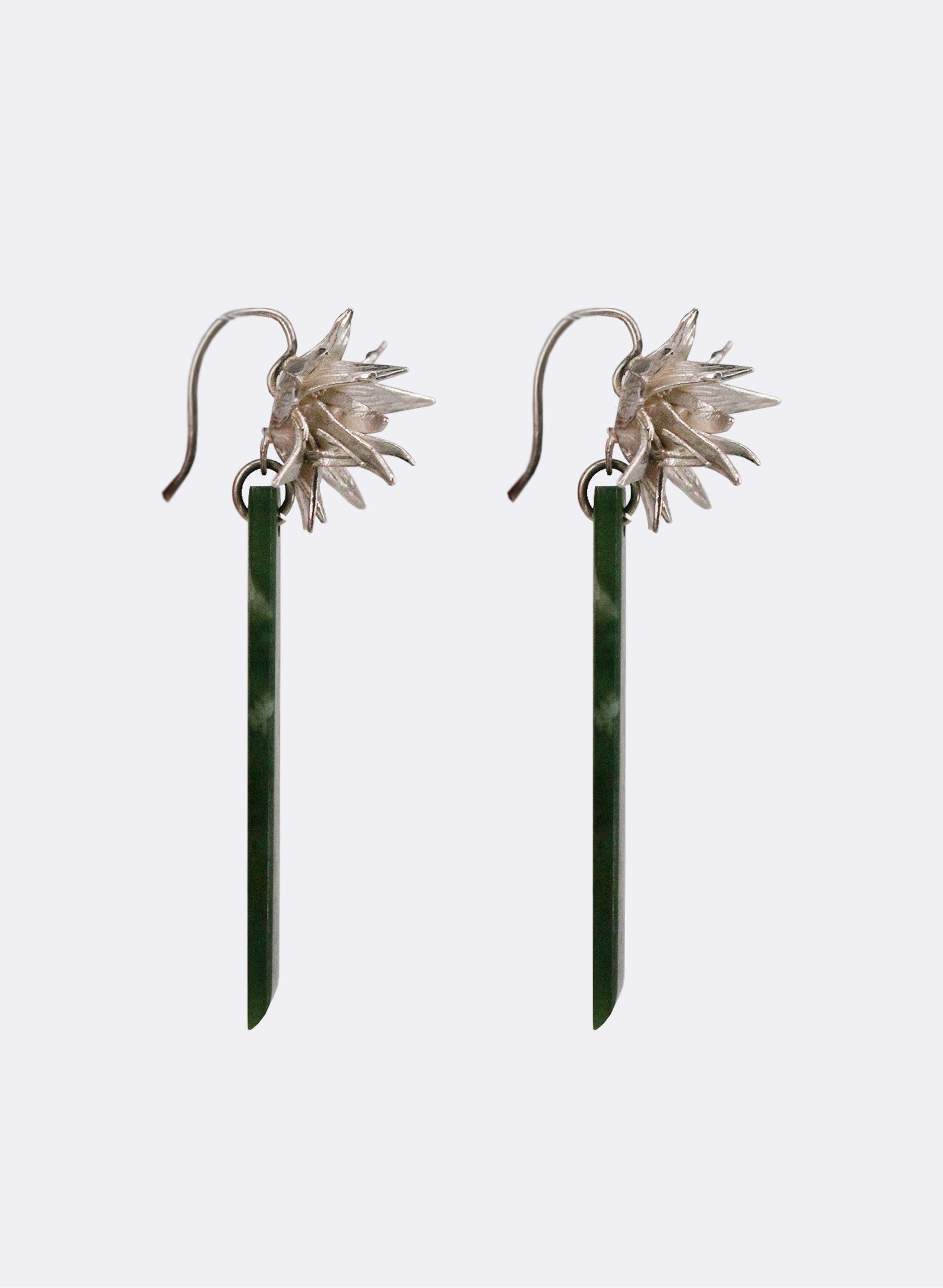Cabbage Tree and Pounamu Hook Earrings