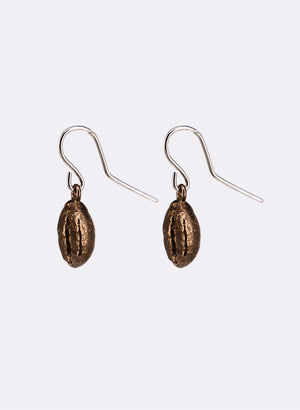 Coffee Bean Drop Earrings - Sterling Silver And Bronze