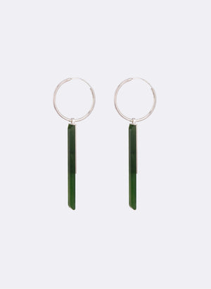 Pounamu Facet Bar Hoop Earrings