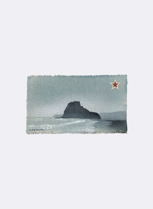 Piha, Lion Rock - Postcard Artwork - Aqua