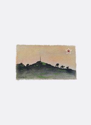 One Tree Hill - Postcard Artwork - Peach