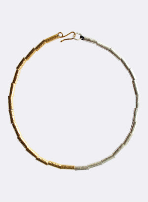 Kauri Bead Necklace - Silver & Gold