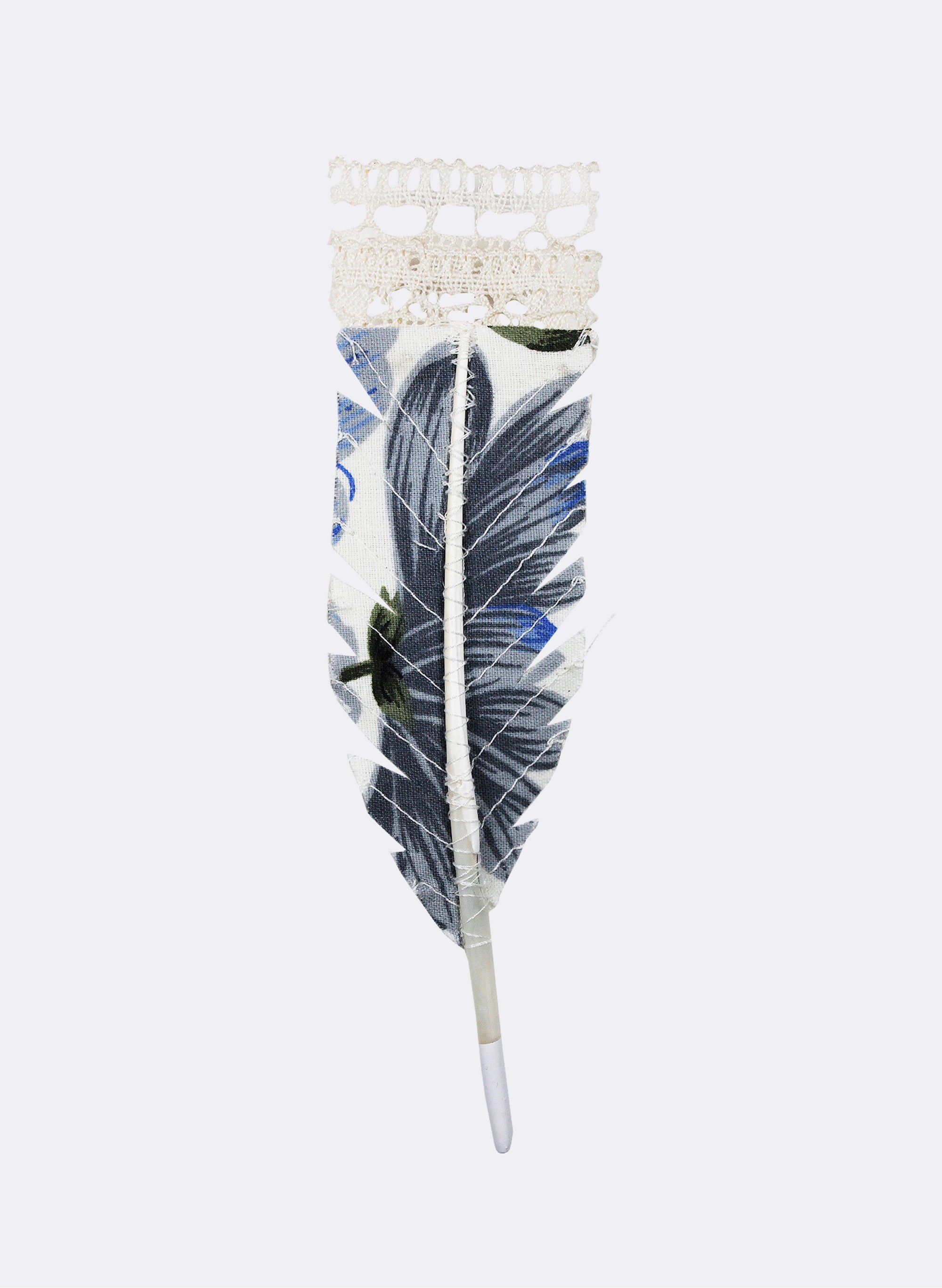 Blue Huia Feather Brooch