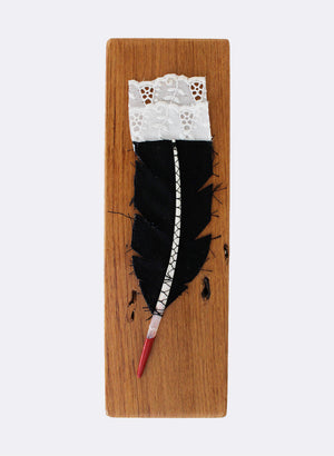 Small Huia Feather Upon Rimu No.2