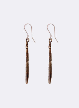 Huia Feather Drop Earrings - Bronze