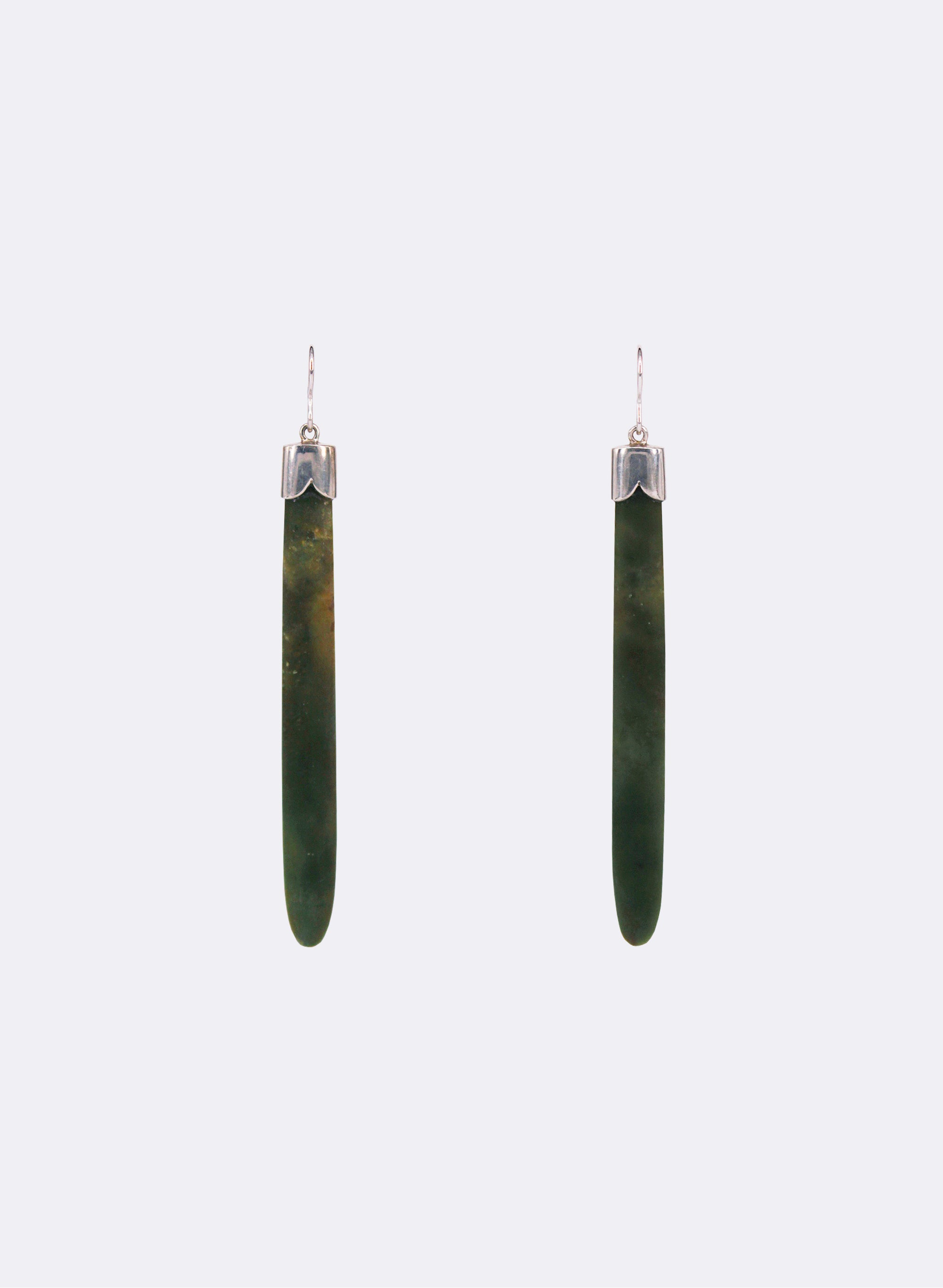 Long Pounamu Earrings w/ Silver Caps