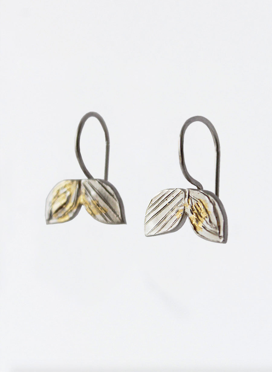 Double Leaf Small Hoop Earrings