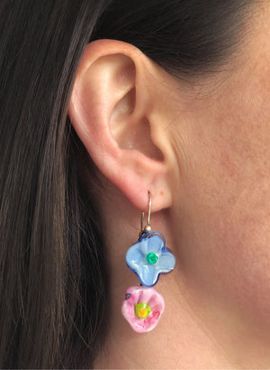 Double Flower Drop Earrings (Sky Blue & Pretty Pink)