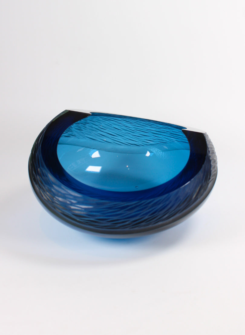 Steel Blue Carved Bowl
