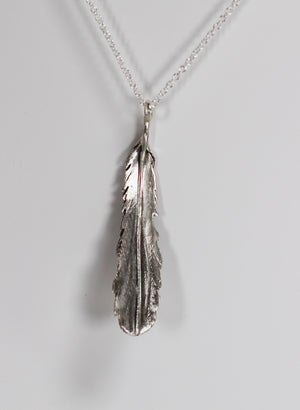 Feather Necklace - Sterling Silver and Bronze