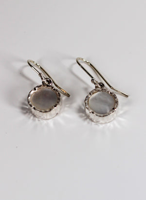 Round Mother of Pearl Earrings - Sterling Silver