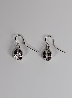 Coffee Bean Drop Earrings - Sterling Silver