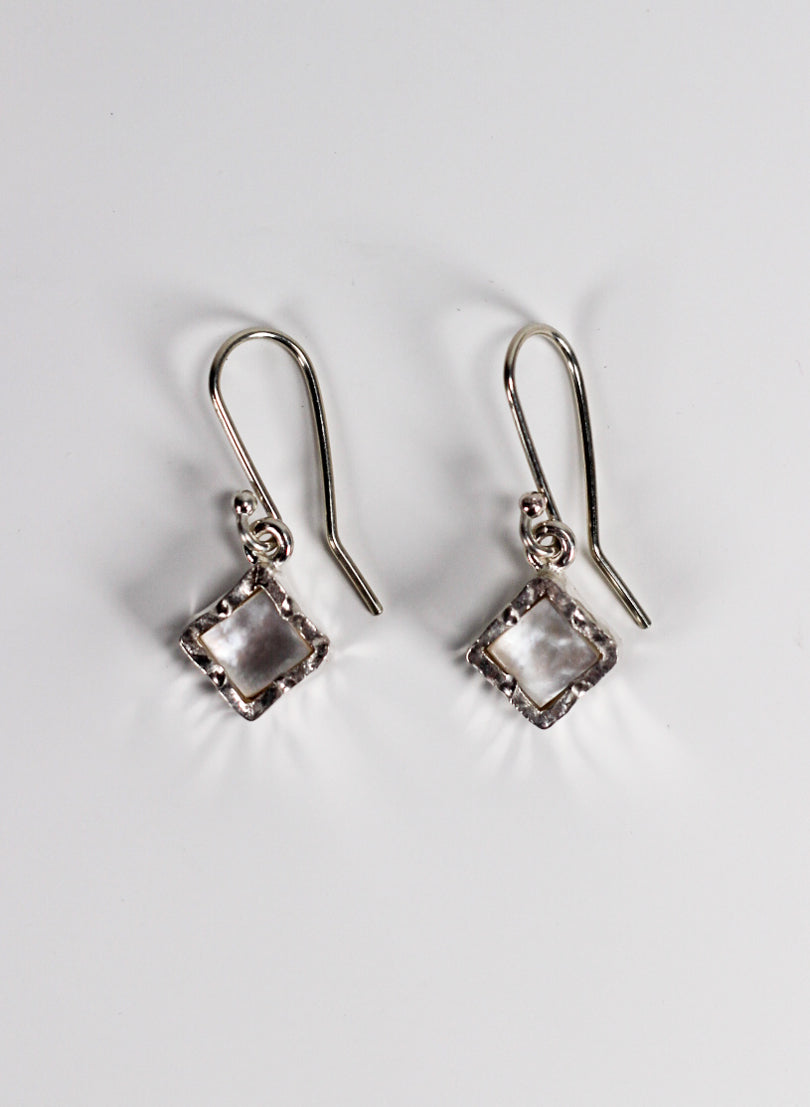 Diamond Mother of Pearl Earrings - Sterling Silver