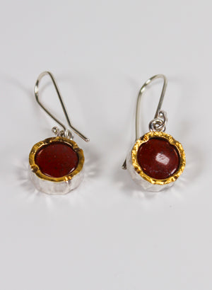 Round Jasper Earrings - Gold