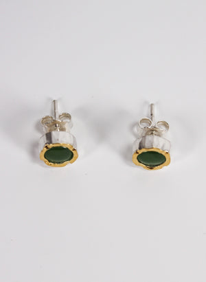 Round Greenstone Stud Earrings - Gold