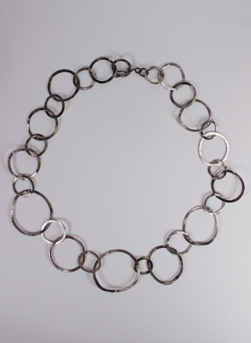 Round Link Necklace Small & Large - Oxidised