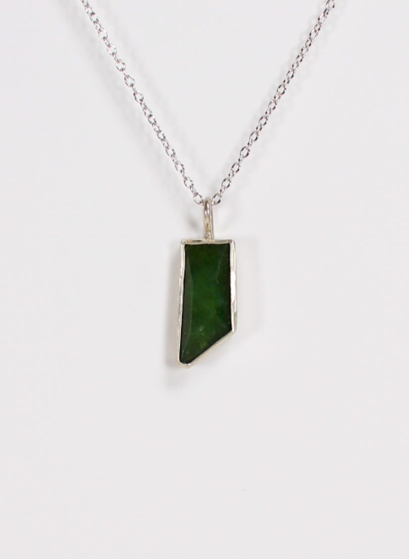 Geometric Facetted Pounamu Pendant and Sterling Silver Chain