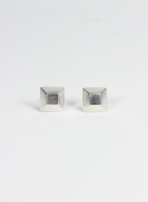 Square Diamond Sterling Silver Studs