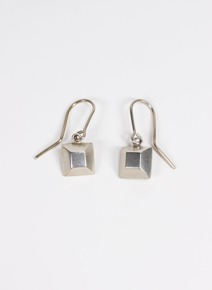 Square Diamond Sterling Silver Hook Earrings