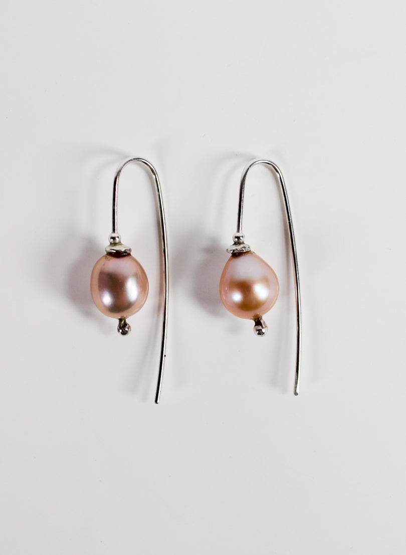 Pink Pearl Hook Earrings