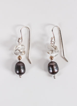 Black Pearl Hook Earrings