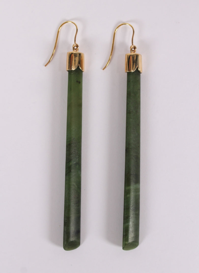 Long Pounamu Drop Earrings
