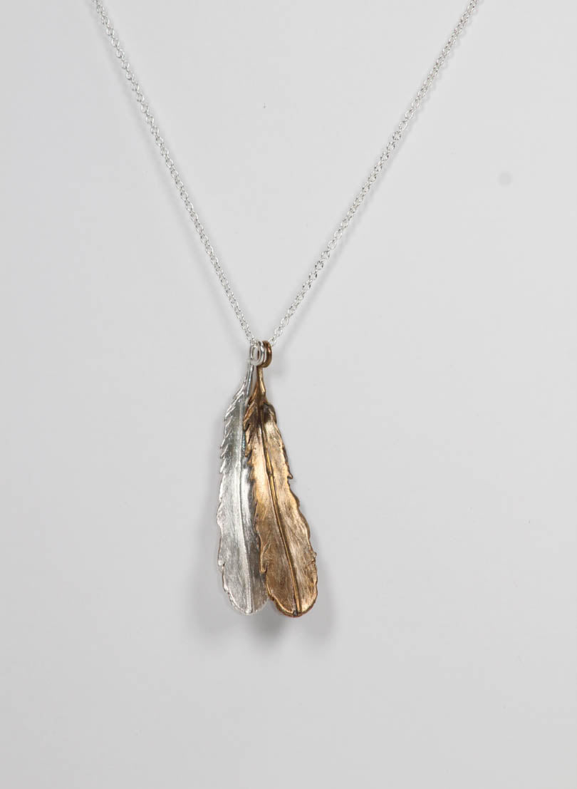 Double Huia Feather Necklace - Bronze & Silver