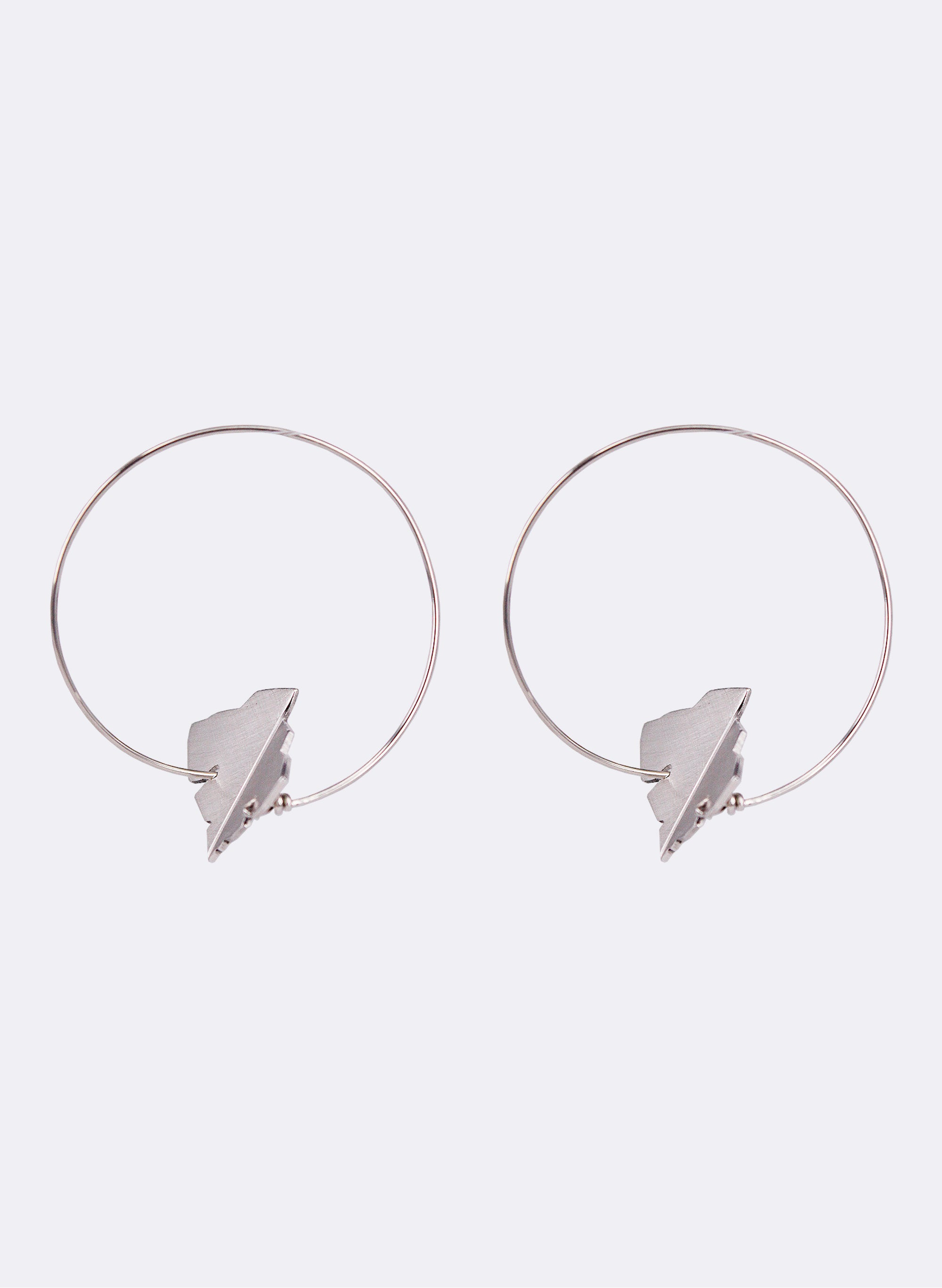 Leaf Tip Hoop Earrings - Sterling Silver