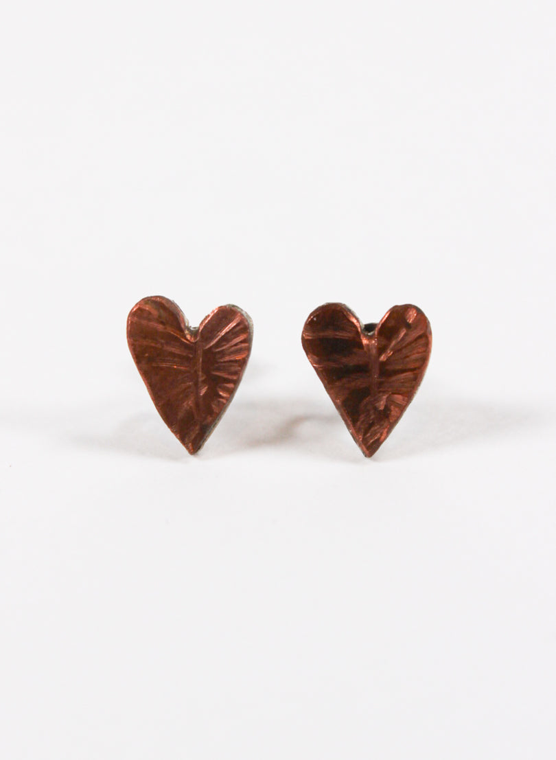 Copper And Silver Leaf Heart Studs