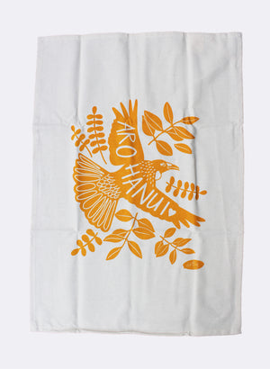 Arohanui Tui Tea Towel - Yellow