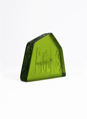 Small Cast Glass Object 'Aroha' - Olive