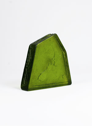 Short Medium Cast Glass Object - Map of NZ - Olive