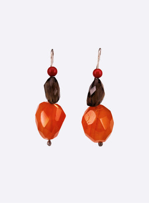 Glass Drop Lure Earrings - Red, Brown & Orange