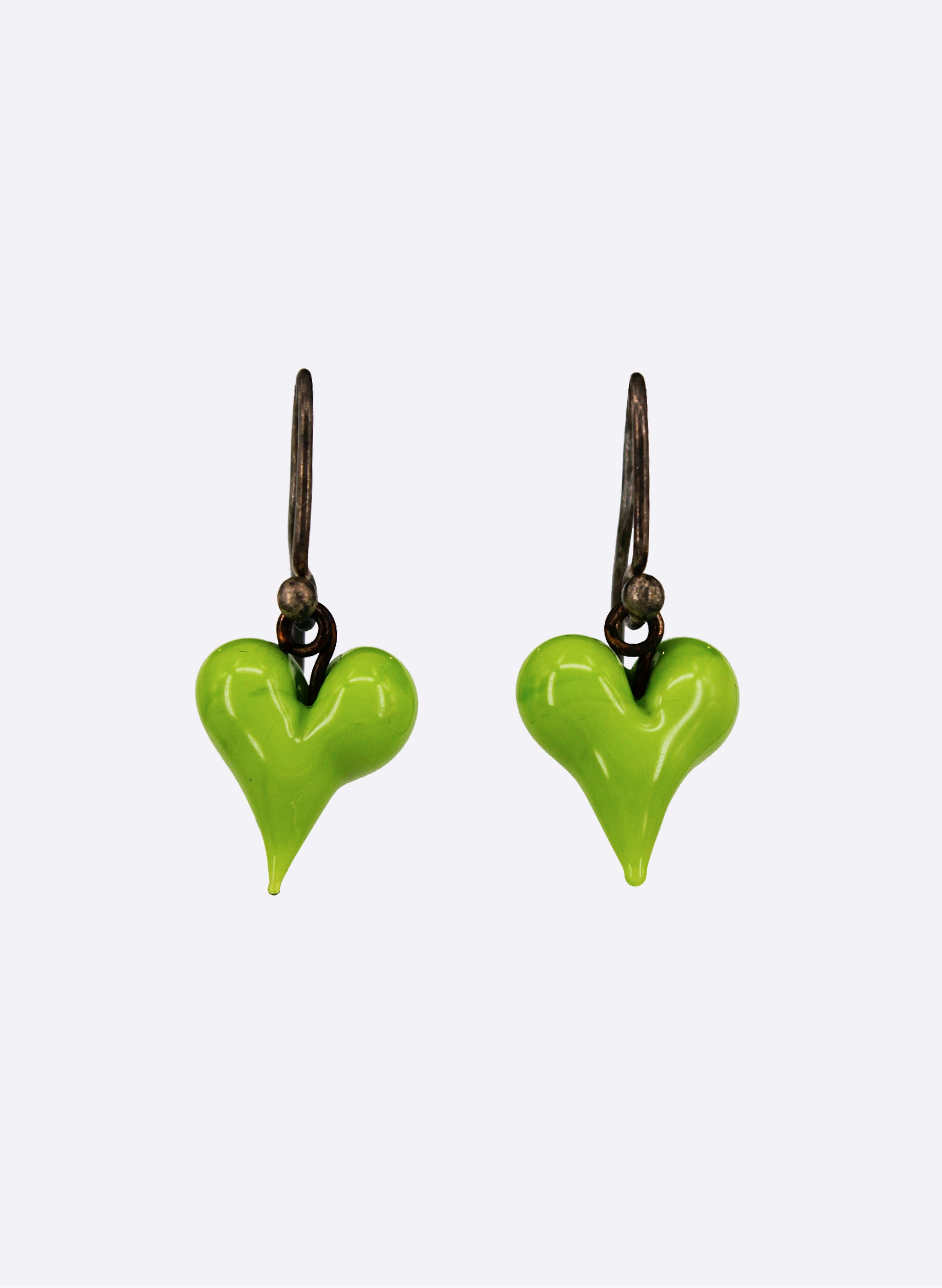 Glass Love Heart Drop Earrings (Lime Green)
