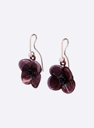 Flower Drop Earrings (Royal Purple)