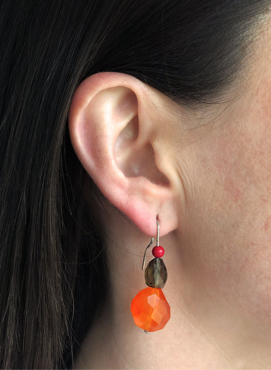 Gemstone Drop Lure Earrings - Red, Brown & Orange
