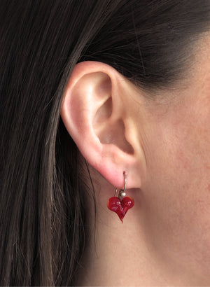 Love Heart Drop Earrings (Ruby Red)