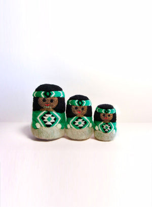 Maori Dolls - Set of 3 Green