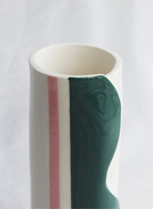 Wave Vessel - Emerald & Pink