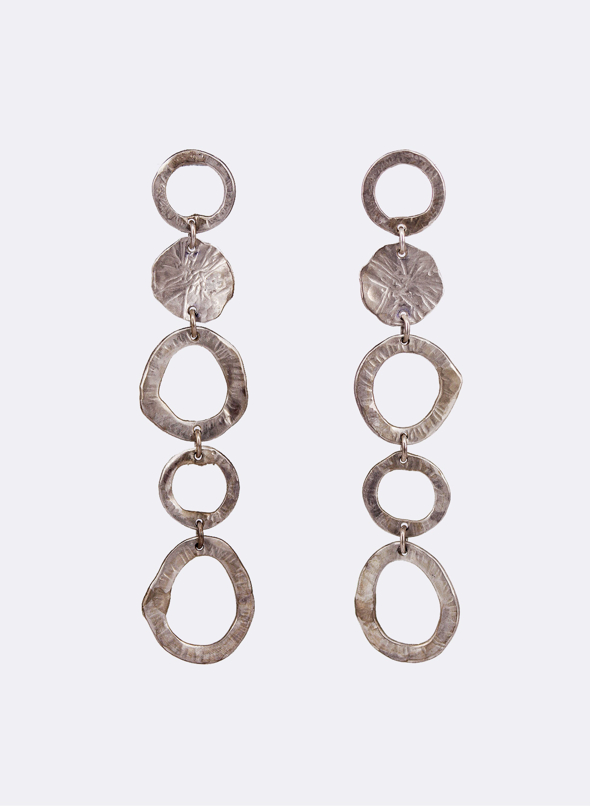 Abstract Circle Silver Earrings