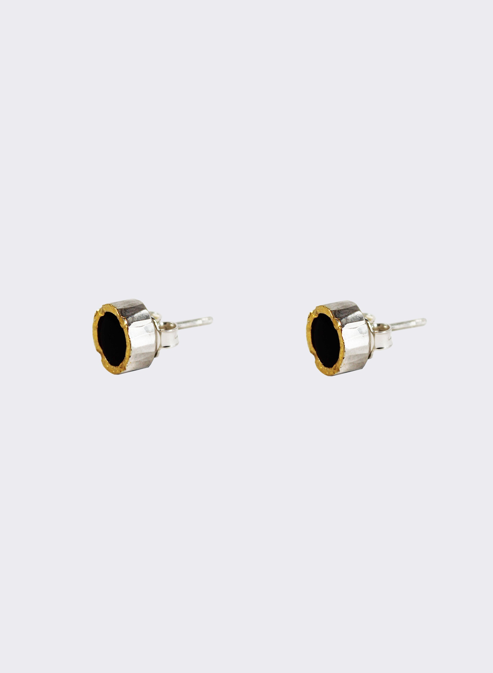 Round Black Jade Stud Earrings - Gold