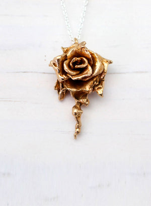 Large Rose Necklace - Bronze